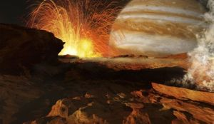 A scene on Jupiters moon Io the most volcanic body in the solar system