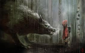 Little Red Riding Hood in the Rain Artwork on wallcg.com