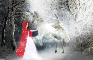 Red Riding Hood standing in middle of snowy forest reaches out to touch a unicorn