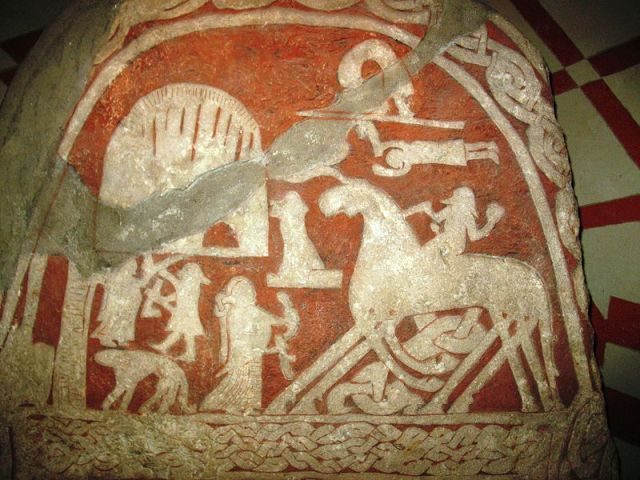 Ancient Viking depiction of Arrival at Valhalla gold silohuette on red