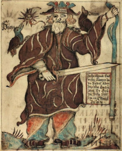 18th century Icelandic manuscript showing Odin with sword and walking stick, cloaked in brown with 2 ravens, one on each shoulder