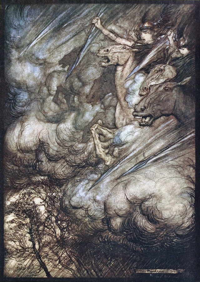 Rhinegold and the Valkyries by Arthur Rackham, 1910, downloaded from https://commons.wikimedia.org/wiki/File:Rhinegold_and_the_Valkyries_p_148.jpg