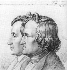Sketch of Jacob & Wilhelm Grimm by younger brother Ludwig drawn in 1843