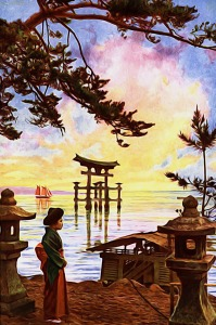 Asian artwork with Shinto gate in water under colorful sky seen through tree branch leaves from VintageBlue on https://pixabay.com/en/asia-asian-oriental-japanese-976160/