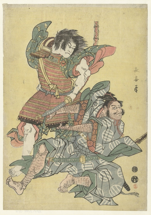 Traditional artwork of Japanese warriors fighting from WikimediaImages on https://pixabay.com/en/japanese-artwork-painting-warriors-884013/