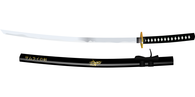 Japanese katana single-edged sword with curved blade from OpenClipartVectors on https://pixabay.com/en/katana-samurai-japan-japanese-154550/