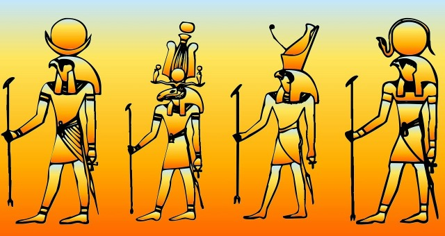 Egyptian gods by PublicDomainPictures on Pixabay at https://pixabay.com/en/egyptian-historical-pray-worship-213667/