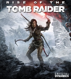 The archaeological adventurer Lara Croft on the cover box of Rise of the Tomb Raider from https://en.wikipedia.org/wiki/File:Rise_of_the_Tomb_Raider.jpg
