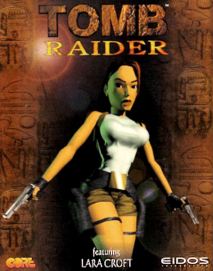 Lara Croft on the box cover art from the 1996 Tomb Raider game from https://en.wikipedia.org/wiki/File:Tomb_Raider_(1996).png
