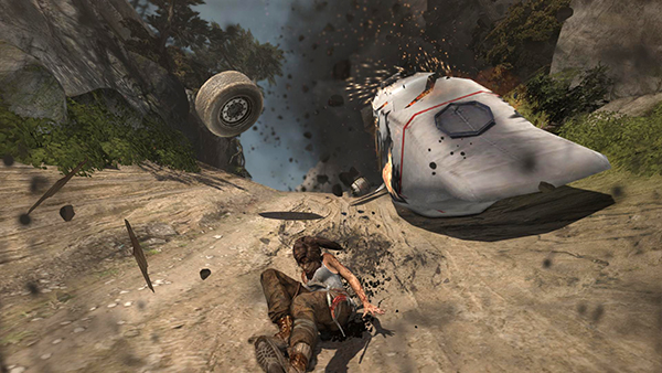 Image of Lara Croft's Tomb Raider plane crash screen shot from http://www.tombraiders.net/stella/walks/TR9walk/details/base-exterior-11.html by Stellalune - stellalune@tombraiders.net