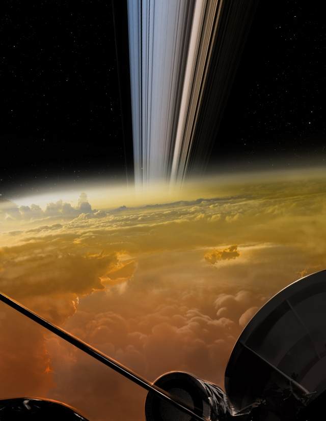 Cassini Grand Finale Concept by NASA/JPL-Caltech at https://saturn.jpl.nasa.gov/resources/7639/