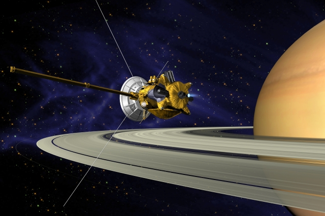 Cassini Saturn Orbit Insertion by NASA/JPL via Wikimedia Commons at https://commons.wikimedia.org/wiki/File%3ACassini_Saturn_Orbit_Insertion.jpg