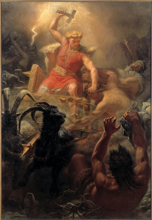 Thor's Fight with the Giants oil painting by Márten Eskil Winge, 1872, downloaded from https://commons.wikimedia.org/wiki/File:M%C3%A5rten_Eskil_Winge_-_Tor%27s_Fight_with_the_Giants_-_Google_Art_Project.jpg
