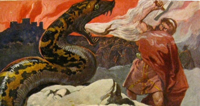 Thor und die Midgardsschlange by Emil Doepler, 1905, reproduced and cropped by Haukur þorgeirsson downloaded from https://commons.wikimedia.org/wiki/File:Thor_und_die_Midgardsschlange.jpg (This media file is in the public domain in the United States https://commons.wikimedia.org/wiki/Template:PD-US )