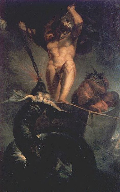 Thor fighting the mighty giant serpent Jörmungandr during a fishing trip with Hymir the giant painting by Henry Fuseli, 1788, in the London Royal Academy of Arts downloaded from https://www.ancient.eu/image/1198/