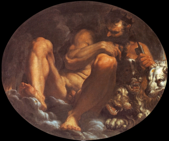 Agostino Carracci's 1592 painting of Pluto with Kerberos from https://commons.wikimedia.org/wiki/File:Agostino_Carracci_01.jpg