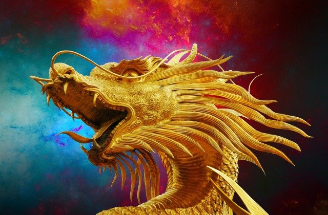 Golden Dragon over sky image by Josch13 on Pixabay at https://pixabay.com/en/dragon-broncefigur-golden-dragon-238931/.