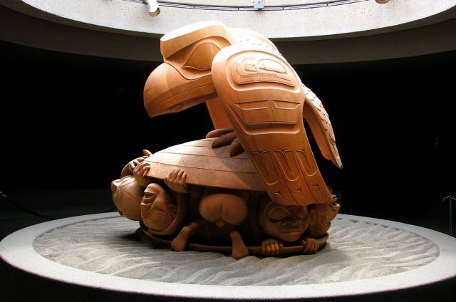 "Sculpture of ""Raven and the First Men"" by Bill Reid, Museum of Anthropology, UBC, Vancouver, British Columbia, photo by D. Gordon E. Robertson on Wikipedia at https://commons.wikimedia.org/wiki/File:Raven_and_the_First_Men,_left_side.jpg#mw-jump-to-license"