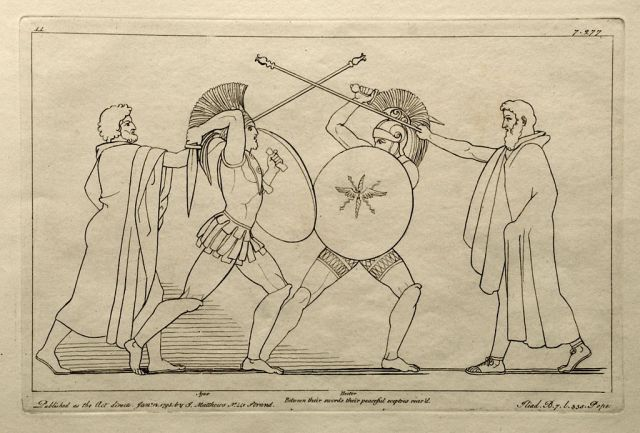 Ajax battling Hektor. Engraving by John Flaxman, 1795 by © Foto H.-P.Haack (H.-P.Haack) (Antiquariat Dr. Haack Leipzig) [Public domain or CC BY 3.0 (https://creativecommons.org/licenses/by/3.0)], via Wikimedia Commons