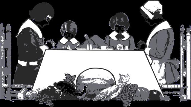 Pilgrims praying over Thanksgiving dinner by b0red on https://pixabay.com/en/thanksgiving-dinner-pilgrim-puritan-2928467/