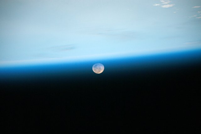 """Good night, Moon"" ISS image by Astronaut Scott Kelly, who posted this picture of the moon taken from the International Space Station with the caption, ""Day 97. Good night, Moon. Good night from @Space_Station! #YearInSpace"". https://www.nasa.gov/image-feature/good-night-moon"