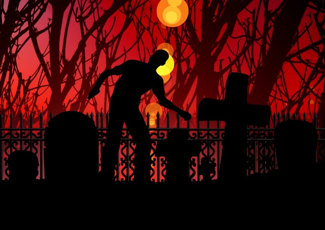 Zombie walking through a cemetery next to graves at night. Image by geralt on Pixabay at https://pixabay.com/illustrations/horror-zombie-ghosts-creepy-1848696/