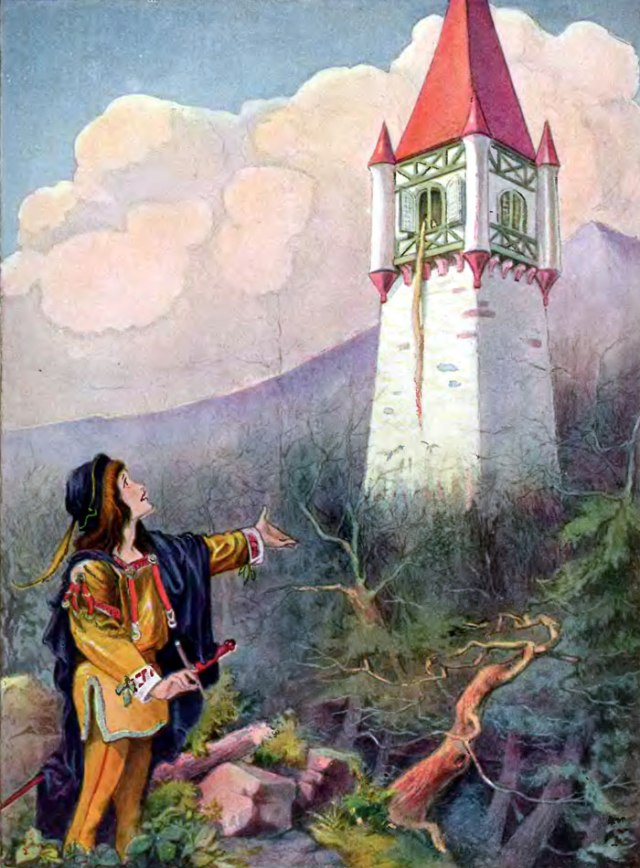 Rapunzel Illustration by John B. Gruelle and R. Emmett Owen for Grimm's Fairy Stories book from https://commons.wikimedia.org/wiki/File:Johnny_Gruelle_illustration_-_Rapunzel_-_Project_Gutenberg_etext_11027.jpg.
