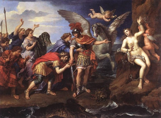 Photo of the painting: Metamorphoses of Ovide: the king of Greece, Céphée, and the queen, Cassiopé, thank the hero Perseus for having delivered their daughter Andromeda, offered in sacrifice to a marine monster. From https://commons.wikimedia.org/wiki/File:Mignard-Andromeda_and_Perseus.jpg